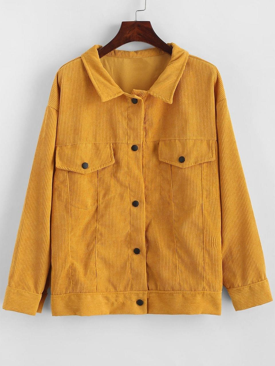 Women's Flap Pockets Snap Button Corduroy Jacket - Bee Yellow