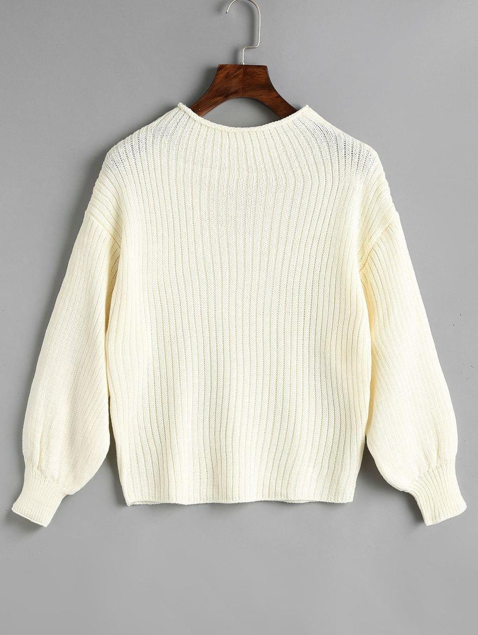 Women's Plain Mock Neck Lantern Sleeve Sweater - White