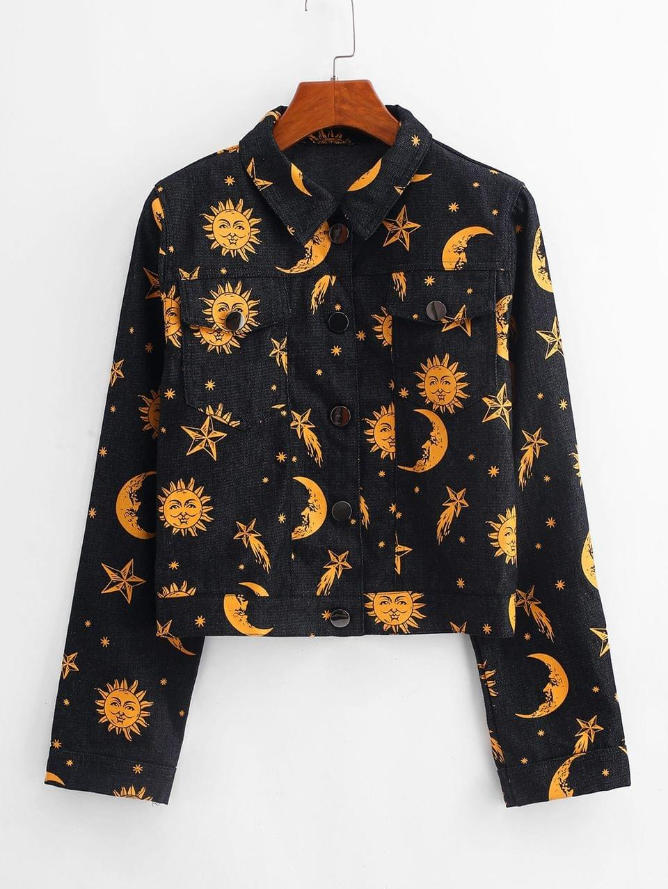 Women's Button Up Star Sun And Moon Denim Jacket - Black M
