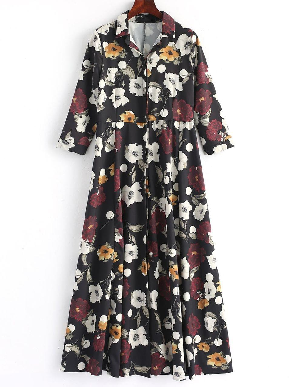 Women's Button Up Floral Shirt Maxi Dress - Floral S