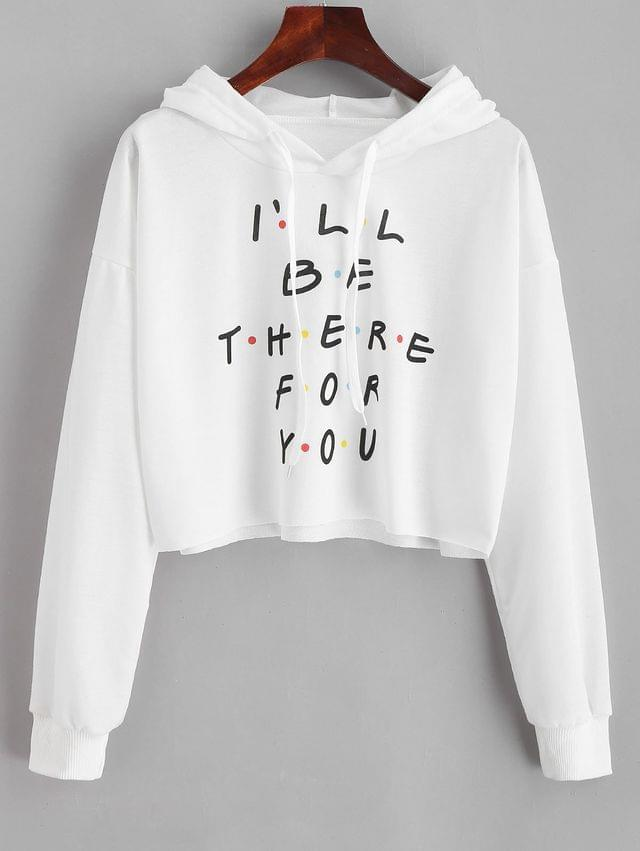 WOMEN Colored Polka Dot Letter Graphic Cropped Hoodie - White L