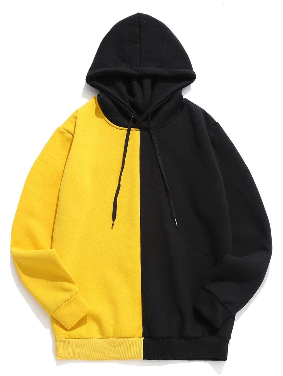 Men's Color-blocking Casual Long-sleeved Hoodie - Yellow S