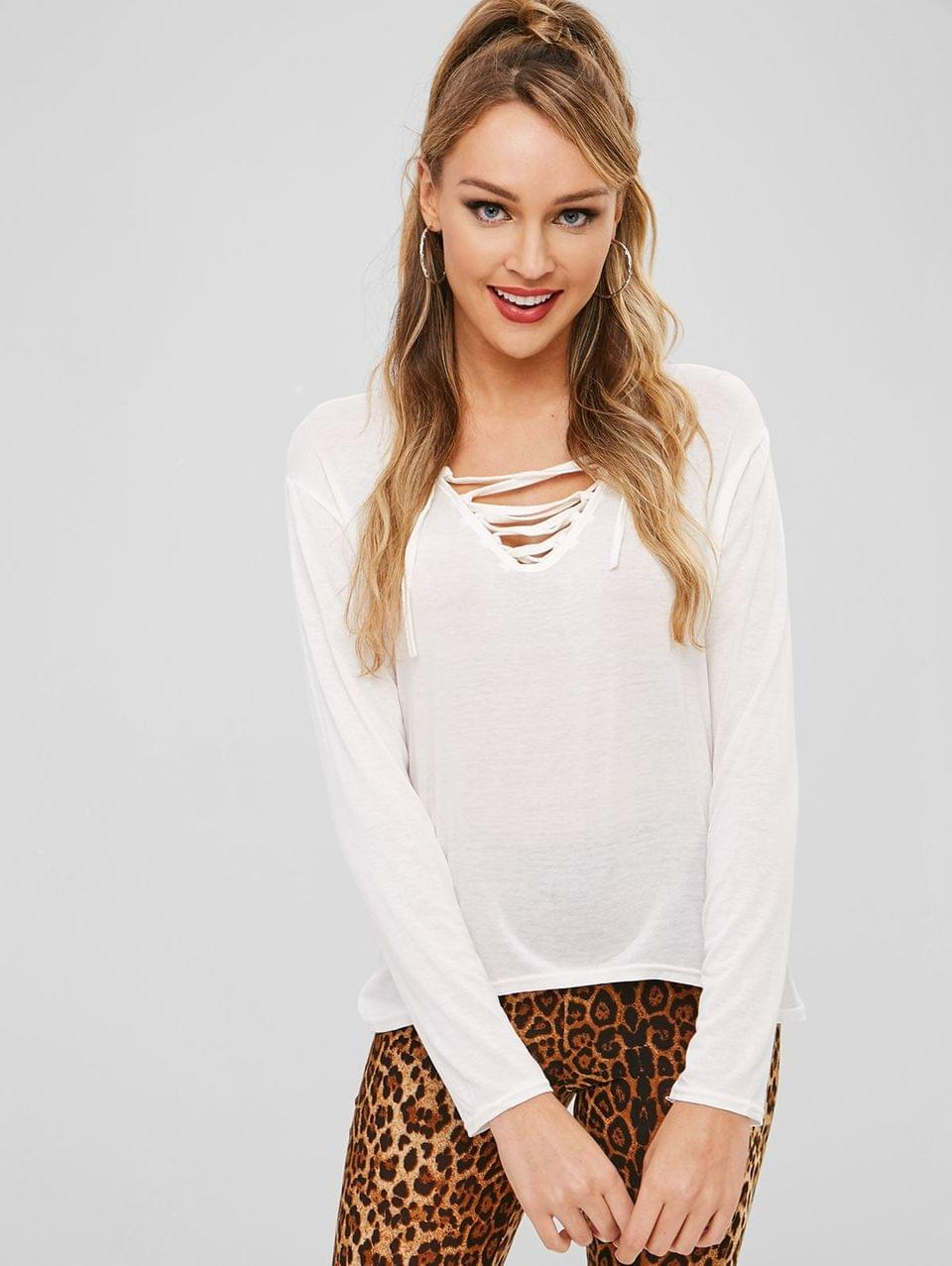 Women's Lace Up Long Sleeve Tee - White Xl