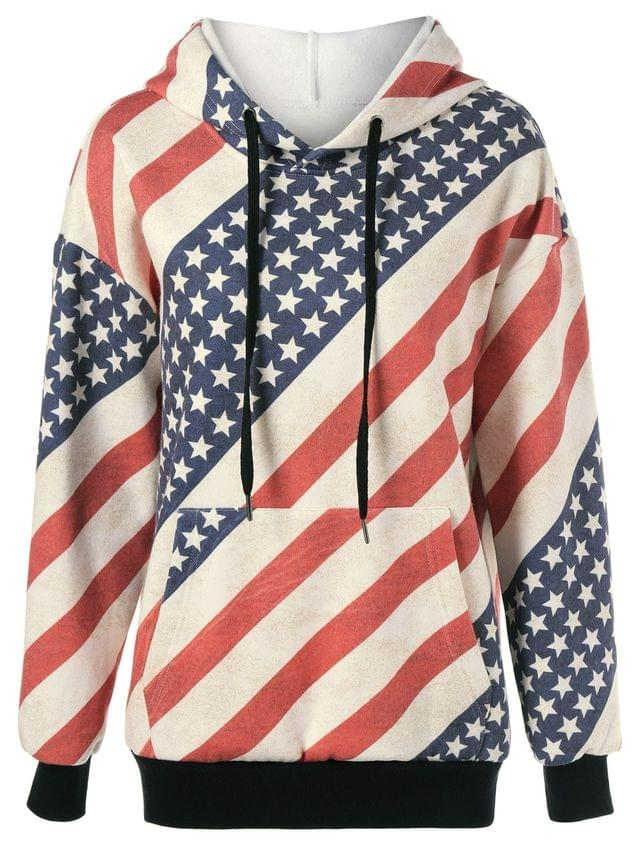 WOMEN Flag Drawstring Distressed Hoodie - Red And White And Blue Xl