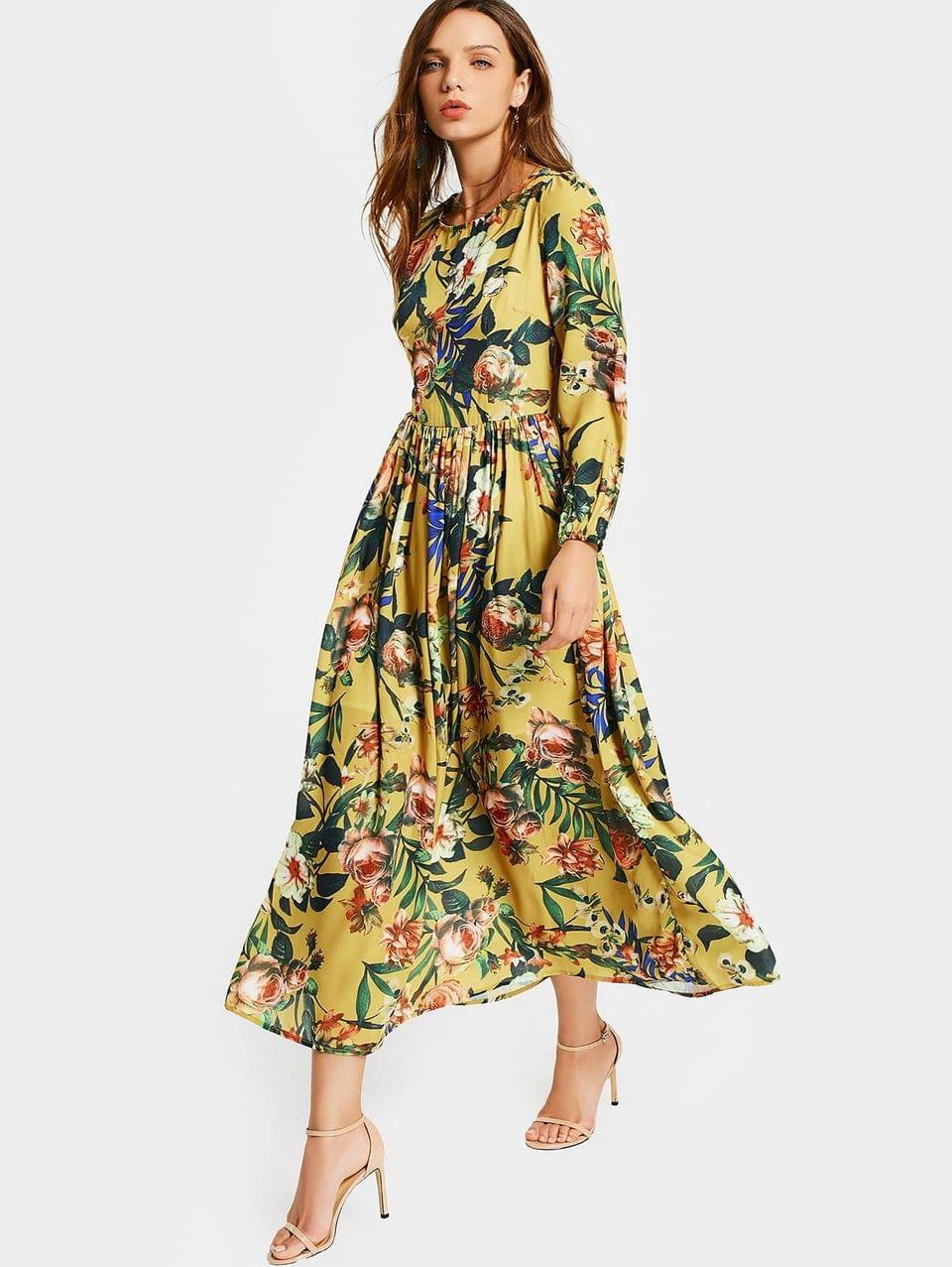 Women's Round Collar Floral Print Long Sleeve Dress - Floral M