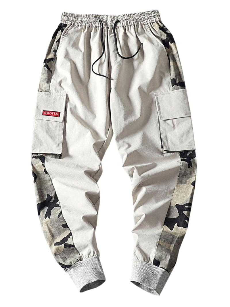 Men's Camouflage Print Splicing Applique Flap Pocket Jogger Pants - Light Gray M