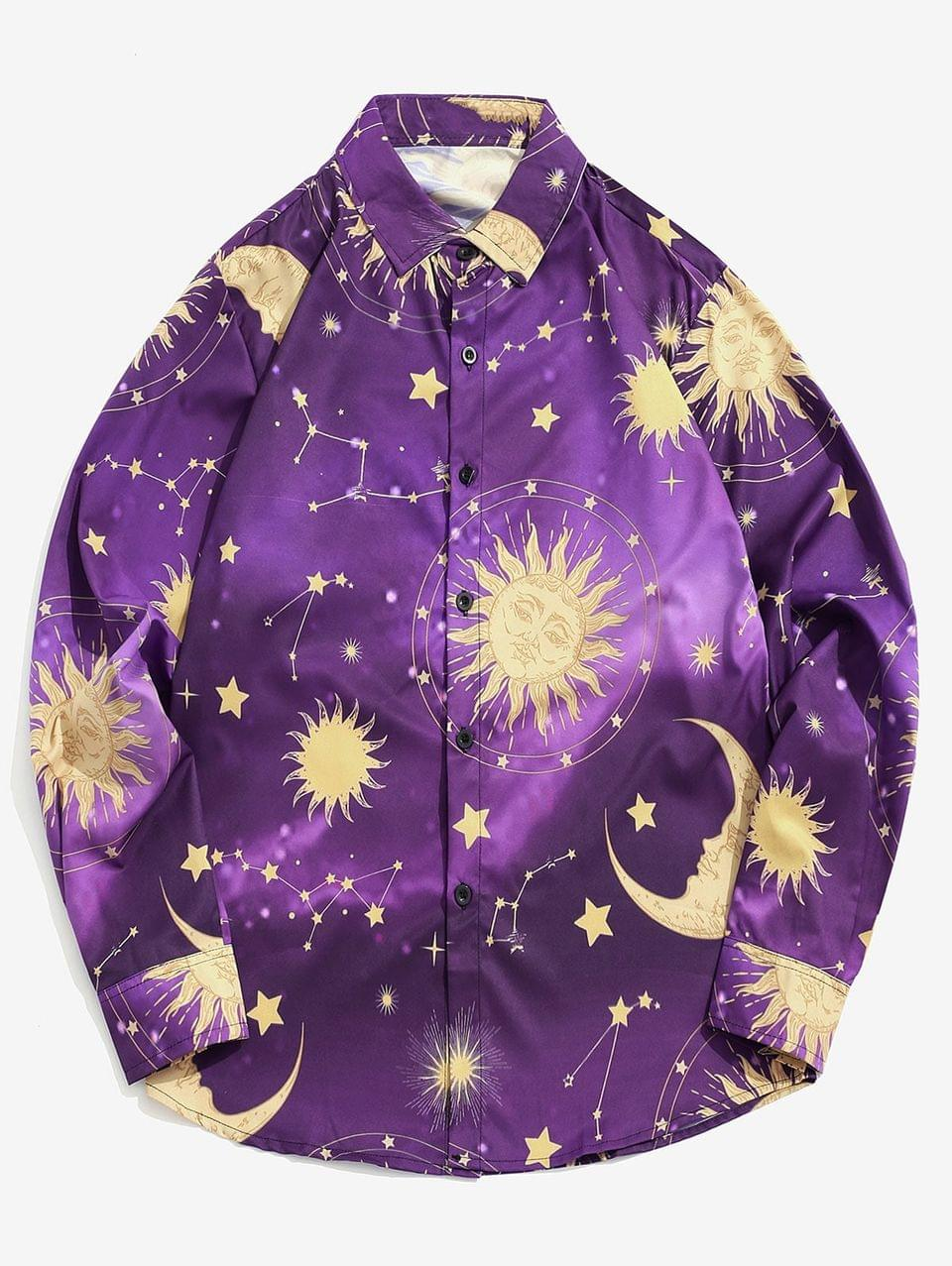 Men's Cartoon Sun Moon And Star Print Long Sleeve Button Shirt - Purple Iris S
