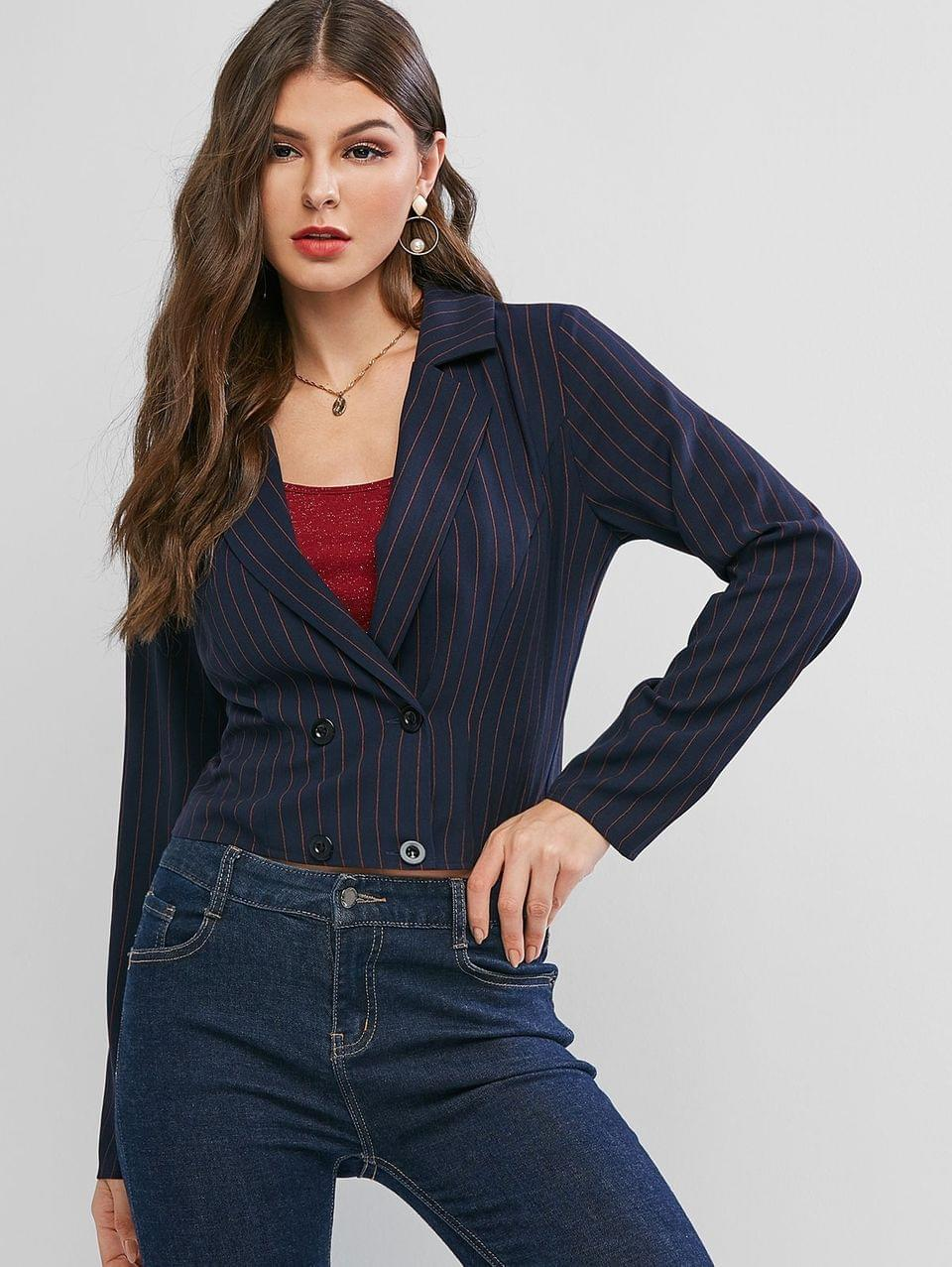 Women's Stripes Double Breasted Short Blazer - Deep Blue Xl