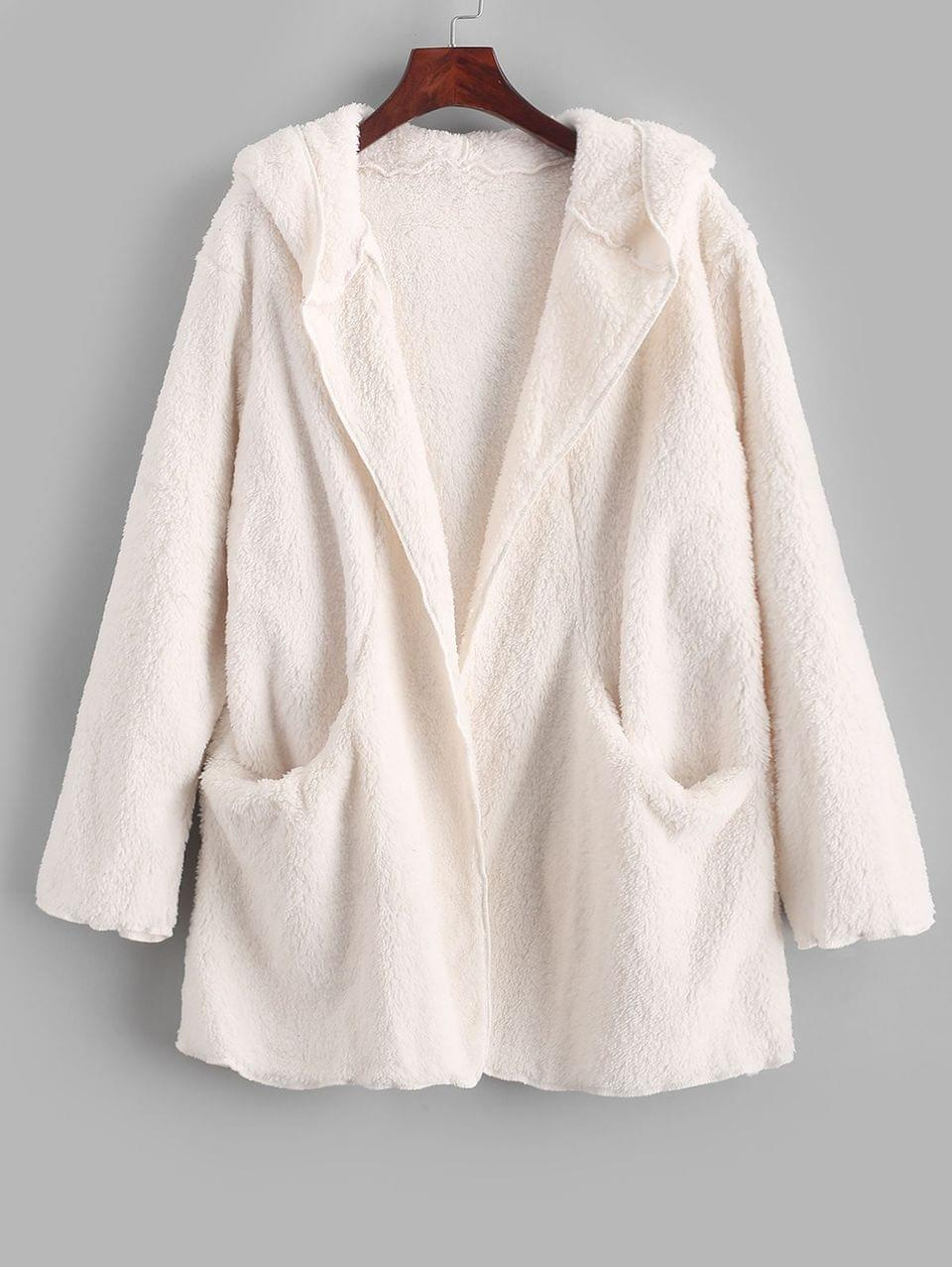 Women's Solid Color Pockets Hooded Teddy Coat - White S
