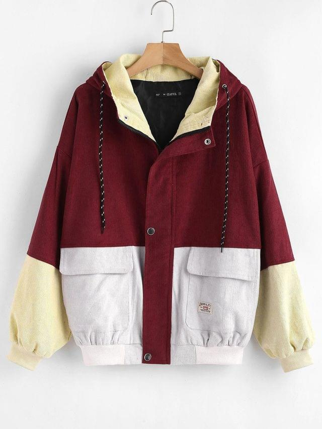 WOMEN Hooded Color Block Corduroy Jacket - Cherry Red L