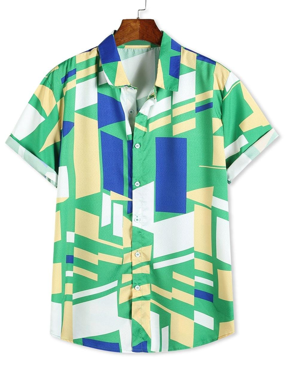 Men's Color Blocking Geometric Print Button Up Vacation Shirt - Multi-b M