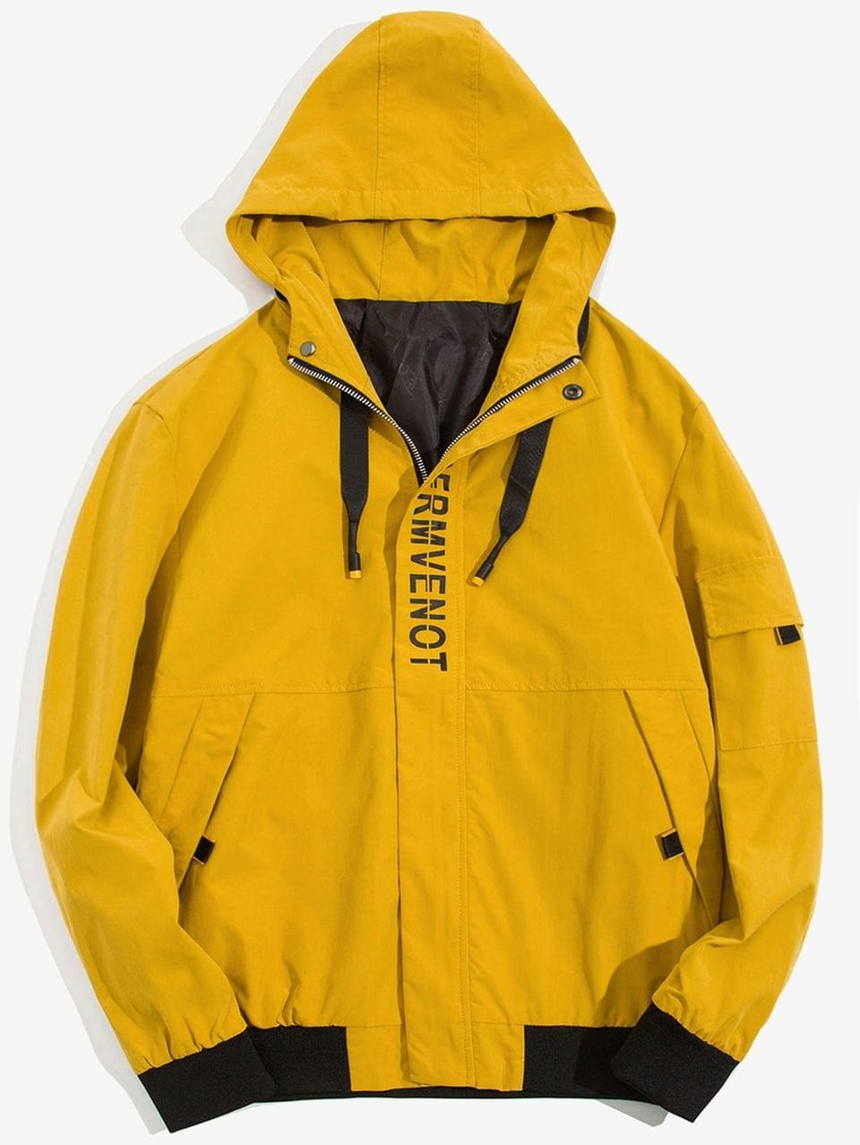 Men's Letter Print Colorblock Splicing Casual Hooded Jacket - Yellow M