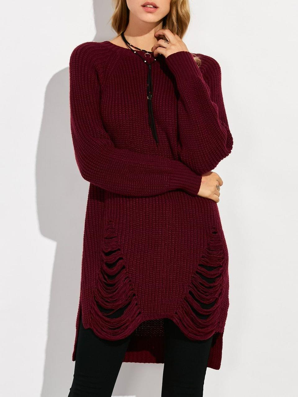 Women's Crew Neck Ripped Chunky High Low Sweater - Wine Red Xl