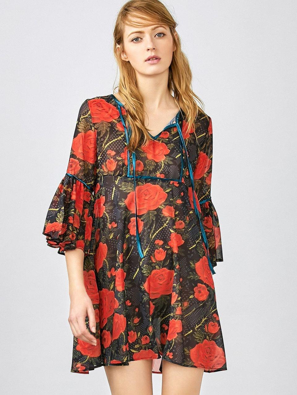 Women's Red Floral 3/4 Sleeve Blouse - Red Xs