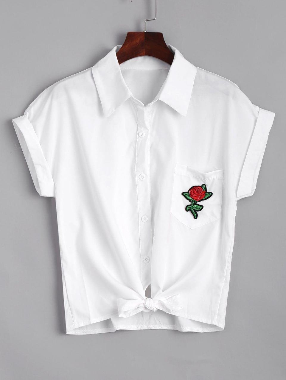 Women's Short Floral Embroidered Bow Tied Shirt - White S