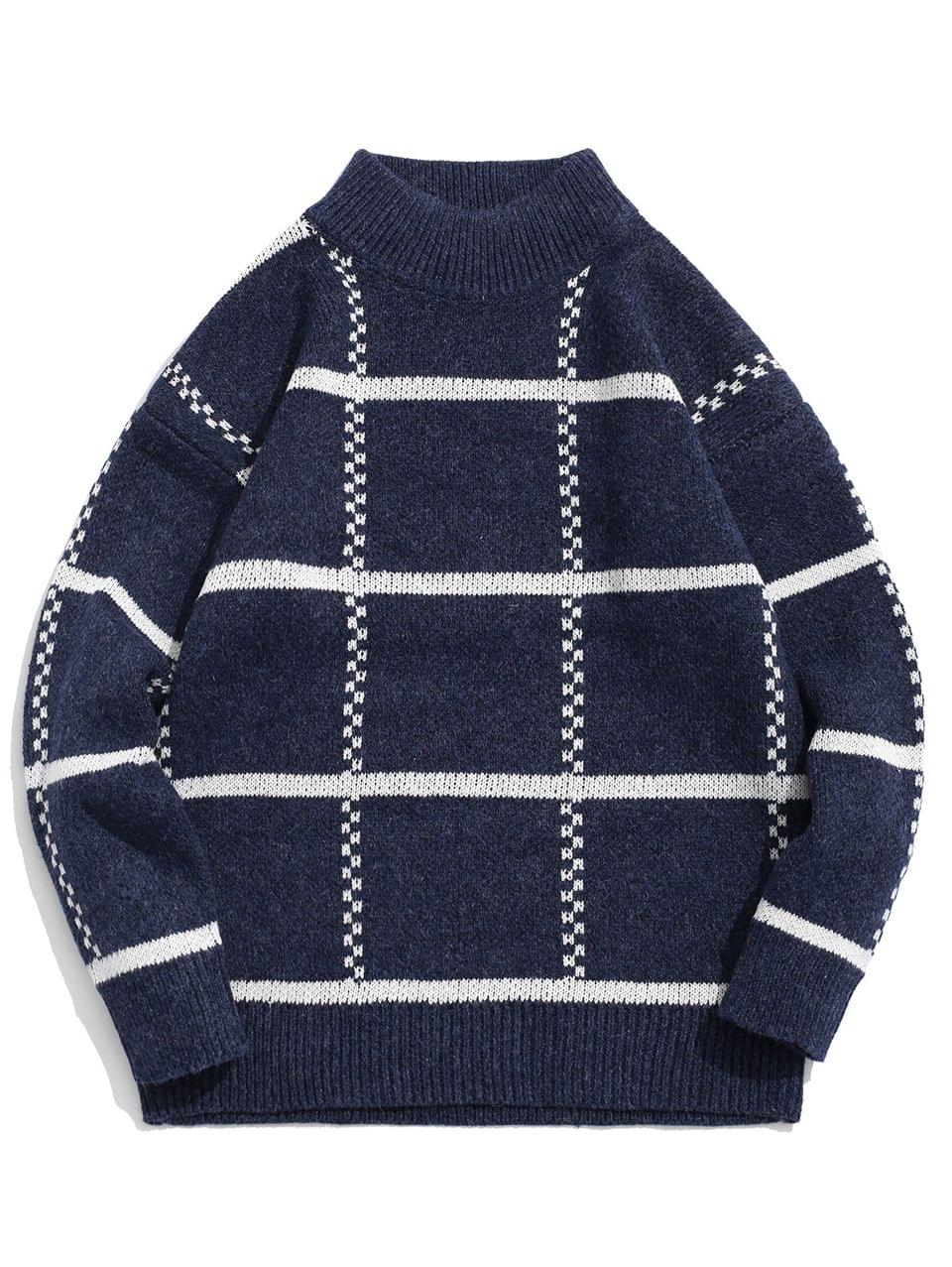 Men's High Neck Pullover Striped Sweater - Blue S