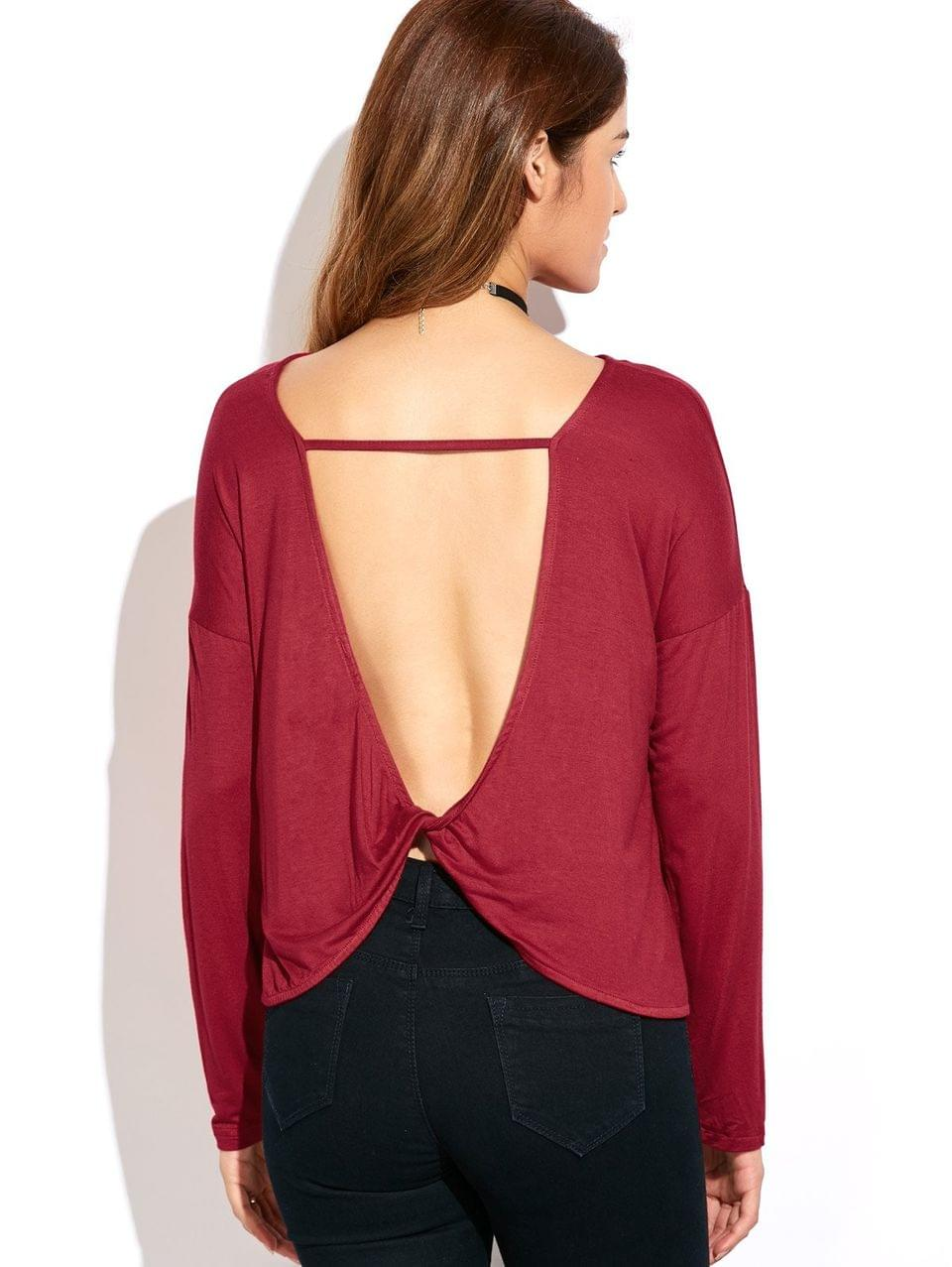 Women's Twisted Open Back Long Sleeve T-Shirt - Red S