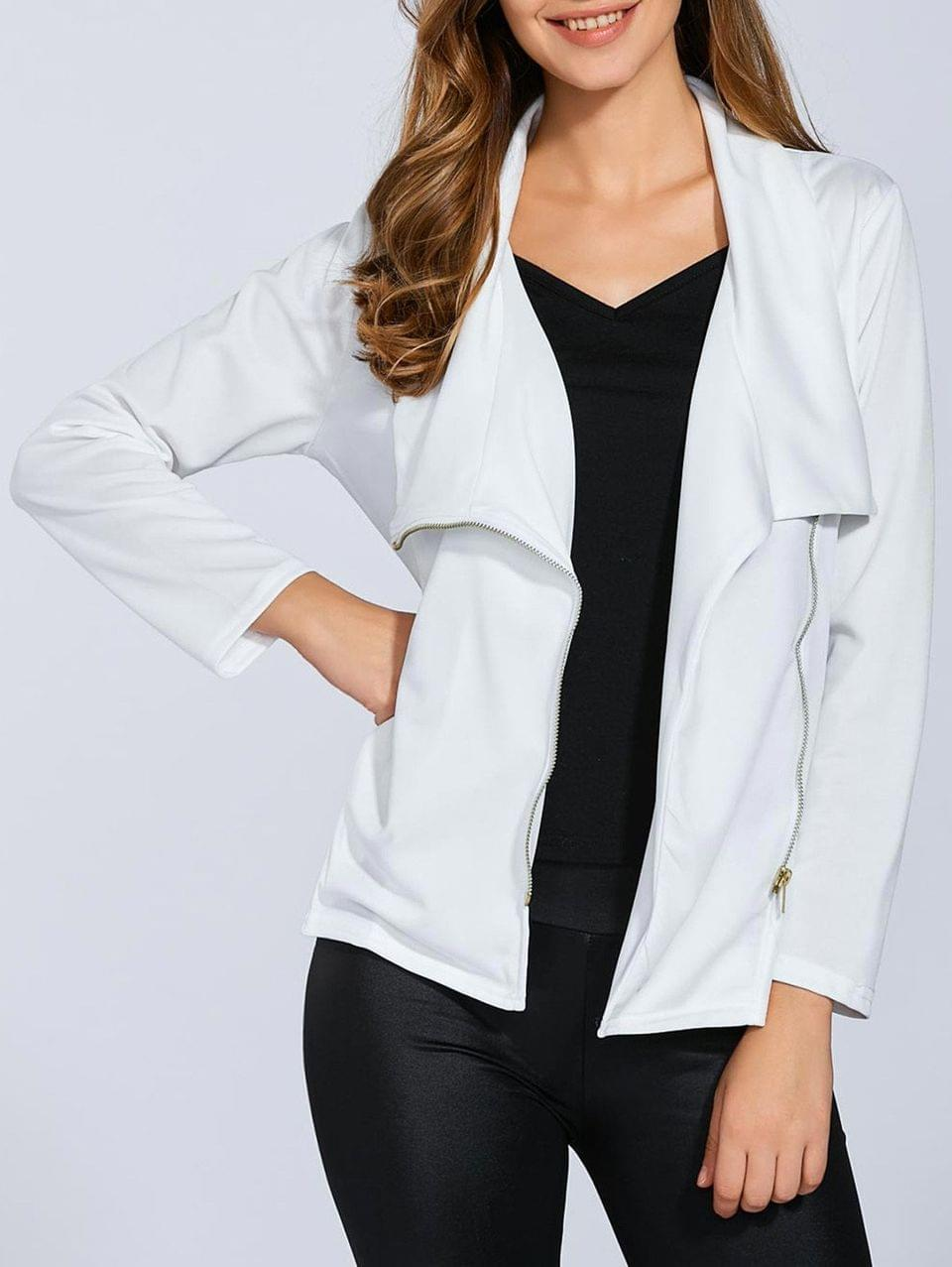 Women's Folded Zippered Asymmetric Jacket - White S