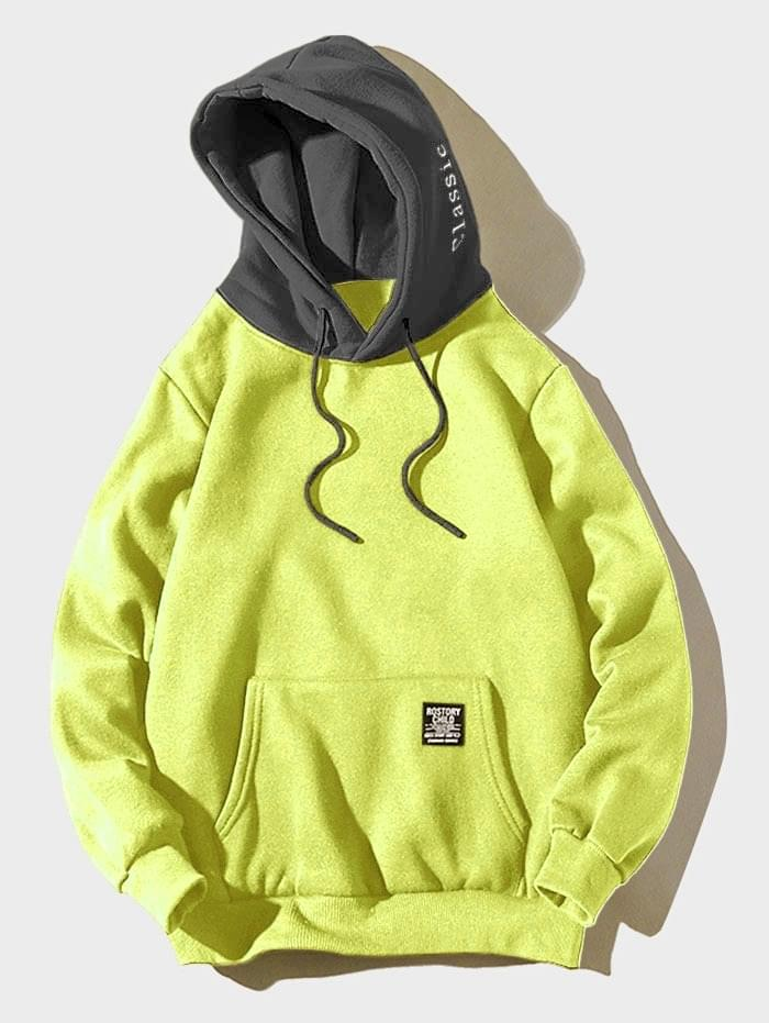 Men's Color-blocking Letter Patch Detail Pouch Pocket Fleece Hoodie - Green Yellow S