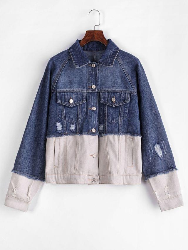 WOMEN Distressed Button Up Two Tone Denim Jacket - Multi M