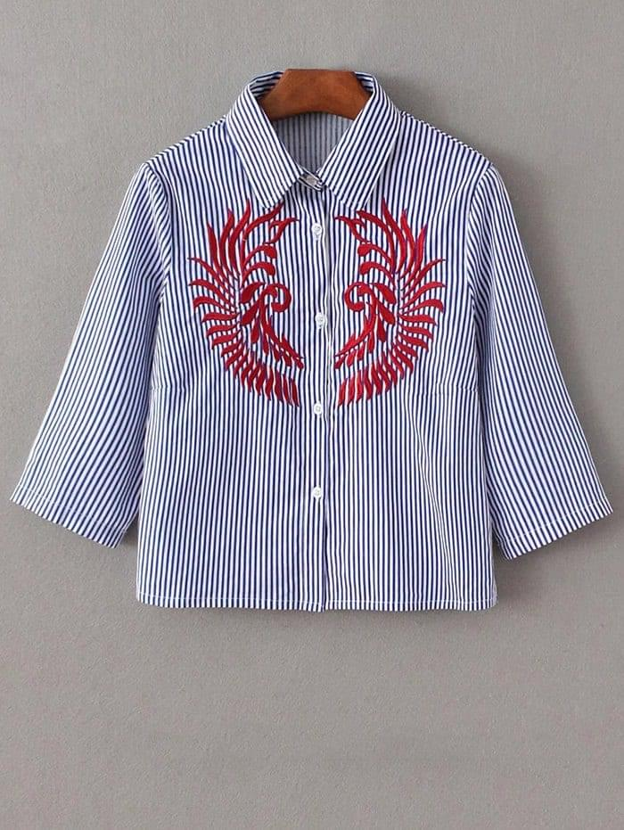 Women's Striped Embroidered Cropped Shirt - Blue And White L