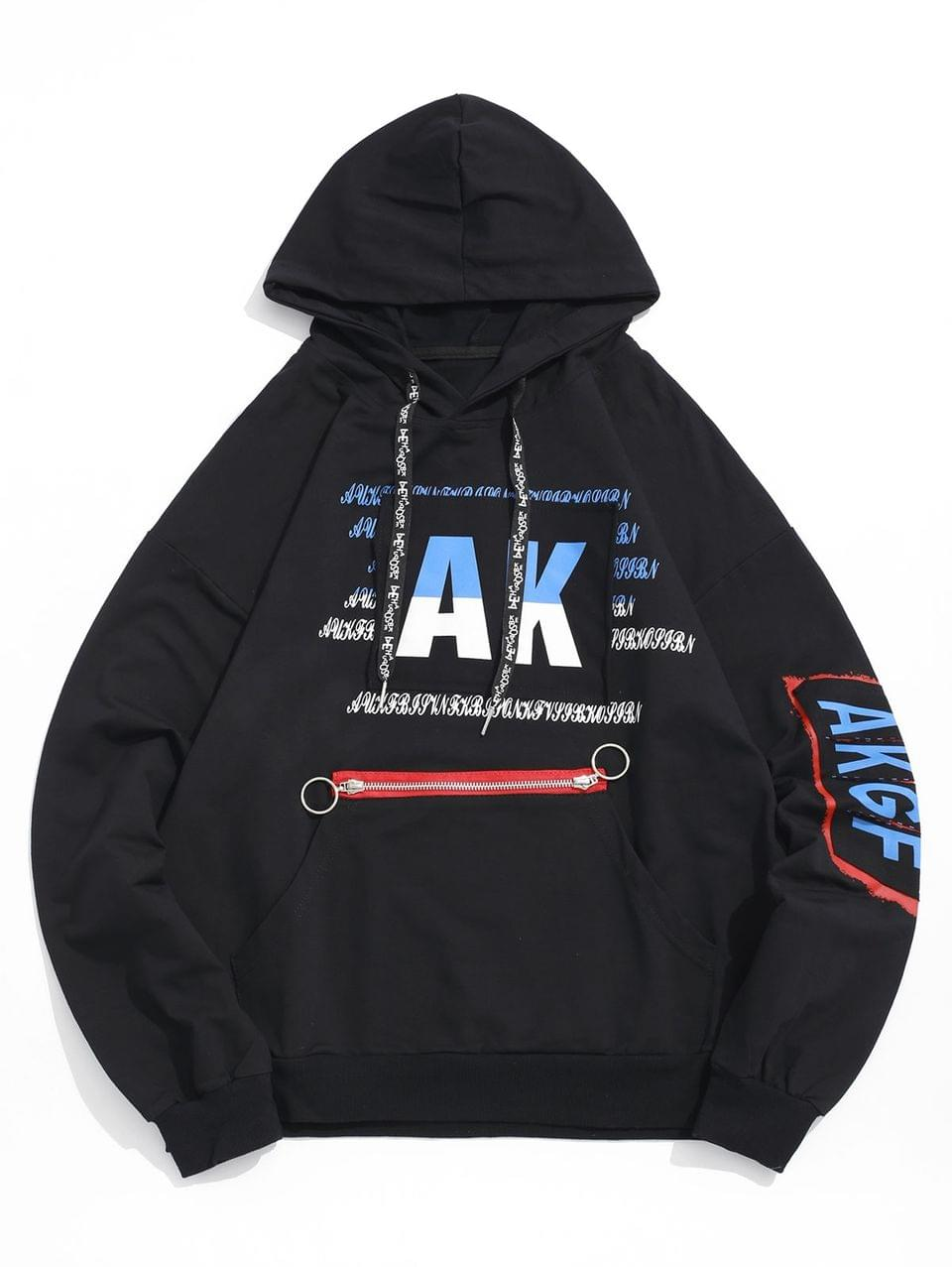 Men's Letter Graphic Print Ripped Patchwork Kangaroo Pocket Hoodie - Black 2xl