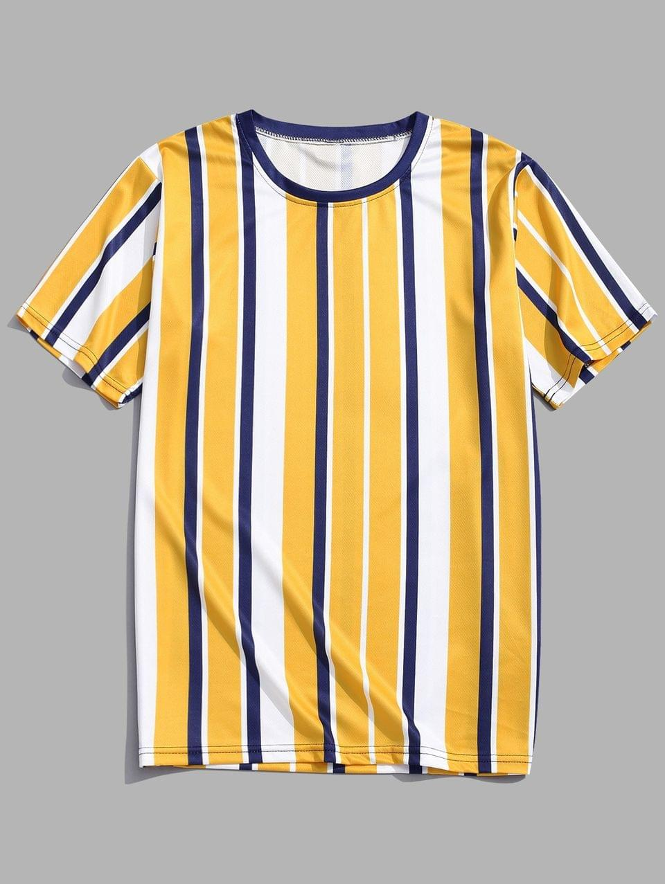 Men's Short Sleeves Vertical Stripes Print Casual T-shirt - Golden Brown 3xl