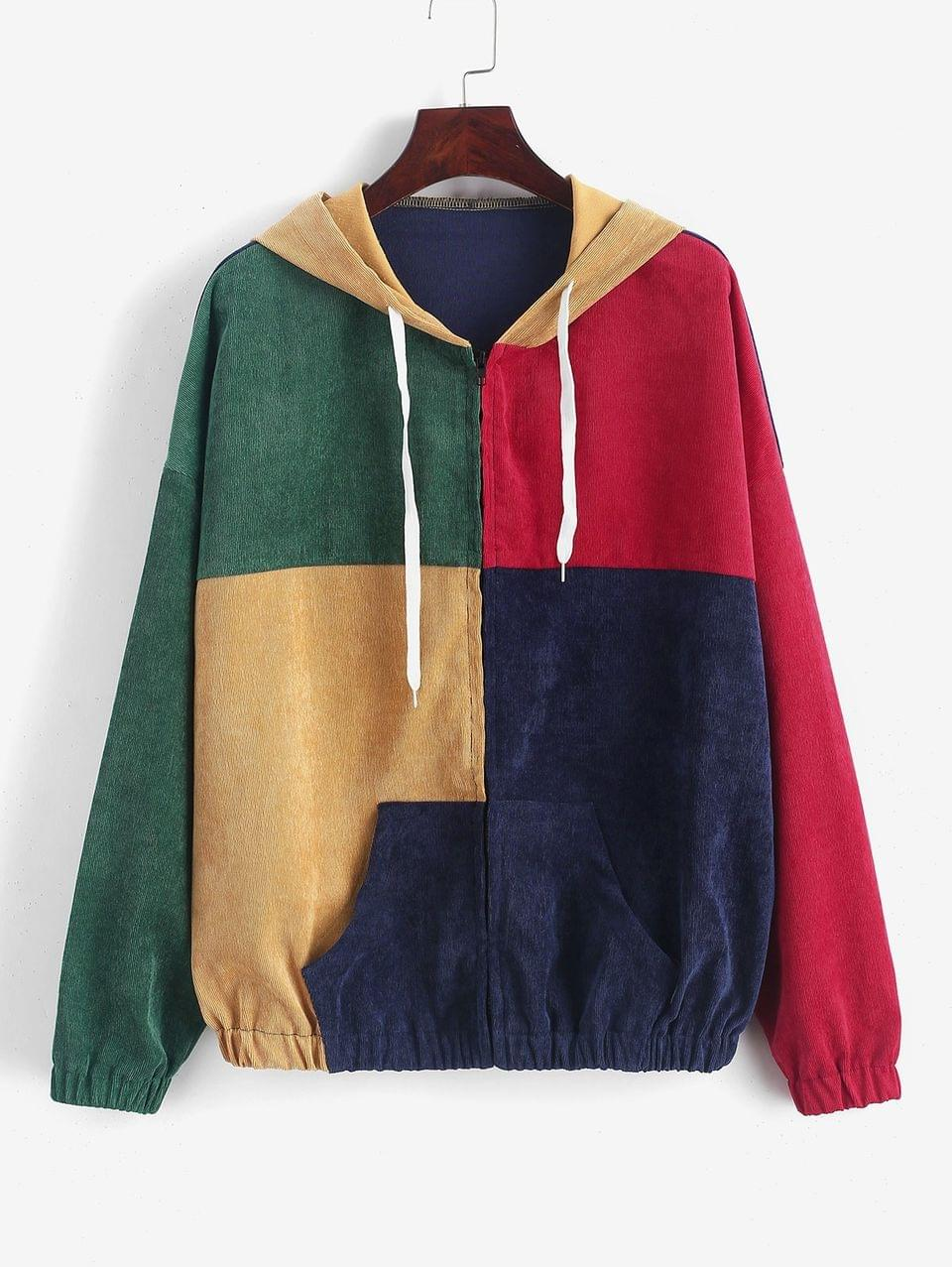 Women's Zip Up Pockets Colorblock Corduroy Jacket - Multi Xl