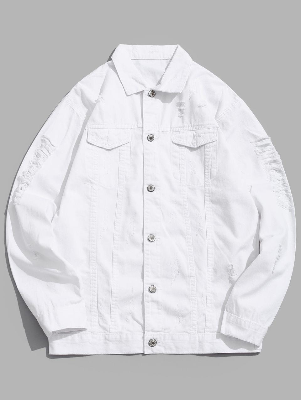 Men's Solid Color Ripped Denim Jacket - White Xs