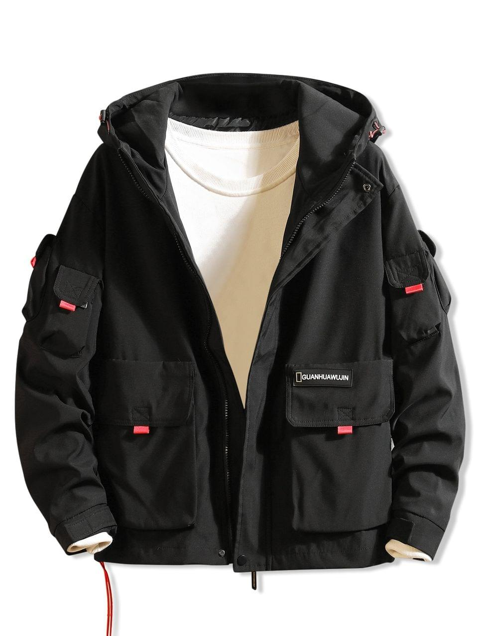 Men's Letter Print Applique Flap Pocket Hooded Jacket - Black M
