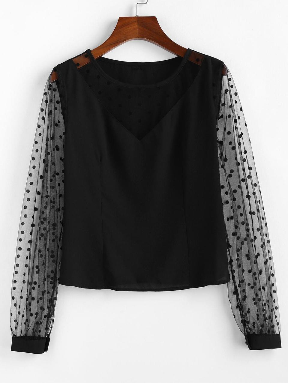 Women's Sheer Swiss Dot Mesh Panel Top - Black L
