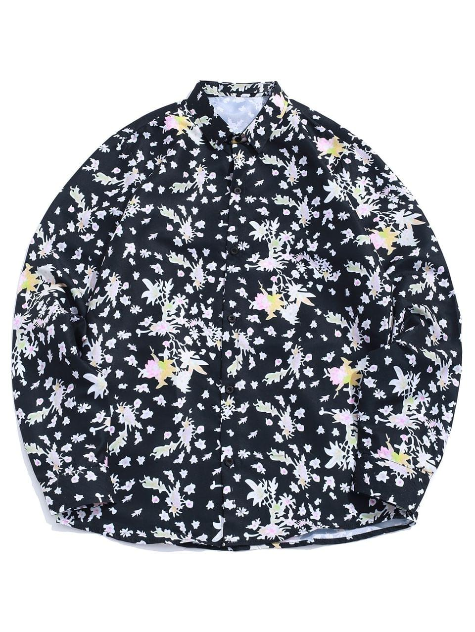 Men's Floral Painting Allover Print Long Sleeve Casual Shirt - Black Xl