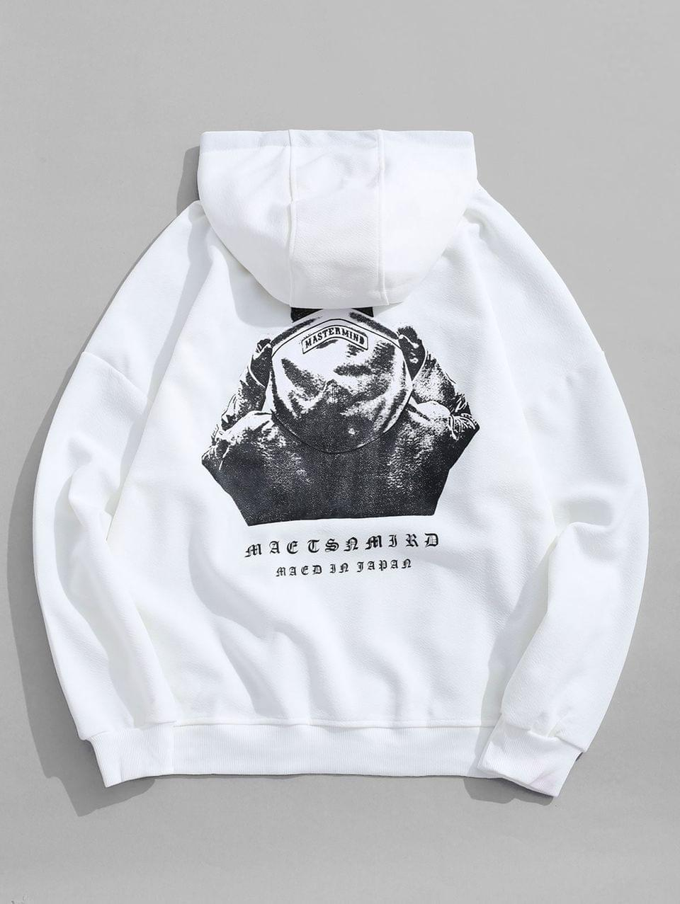 Men's Hooded Men Sign Letter Embroidery Graphic Print Hoodie - White M