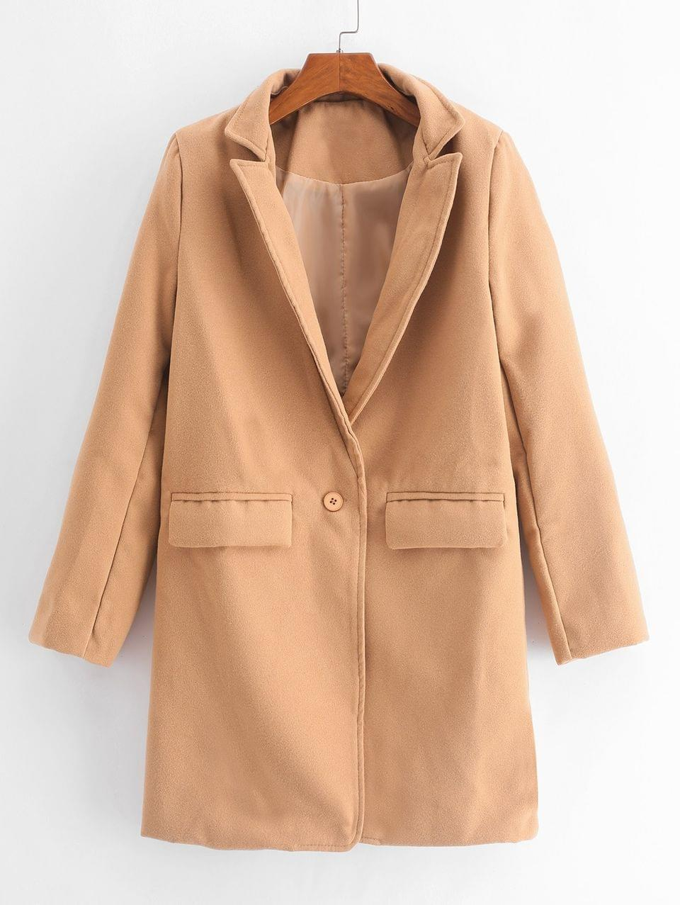 Women's One Button Flap Pockets Lapel Longline Coat - Tan M