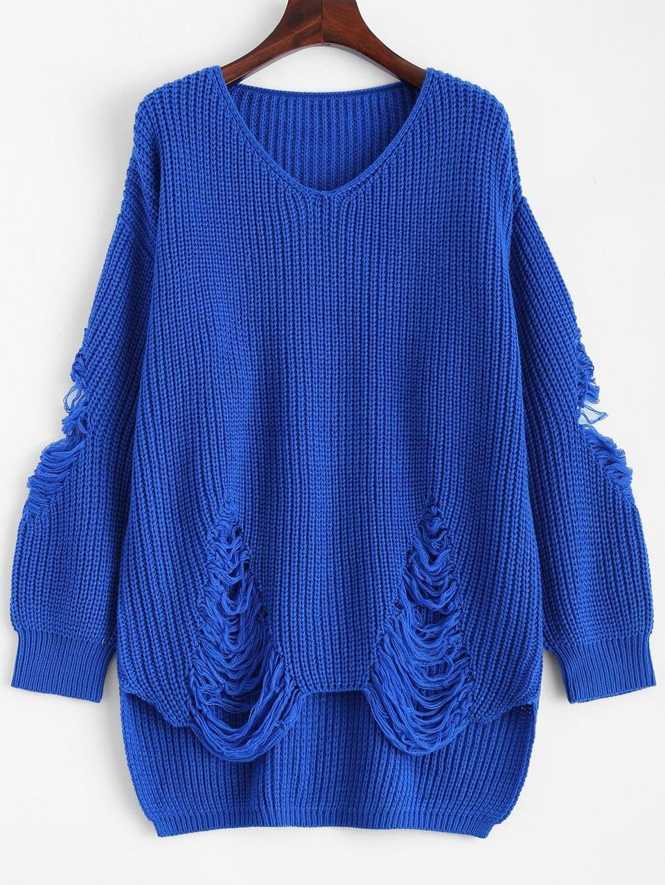 Women's Loose Pullover Distressed Sweater - Blue M