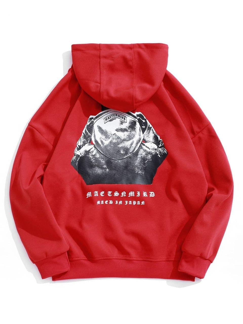 Men's Hooded Men Sign Letter Embroidery Graphic Print Hoodie - Lava Red L