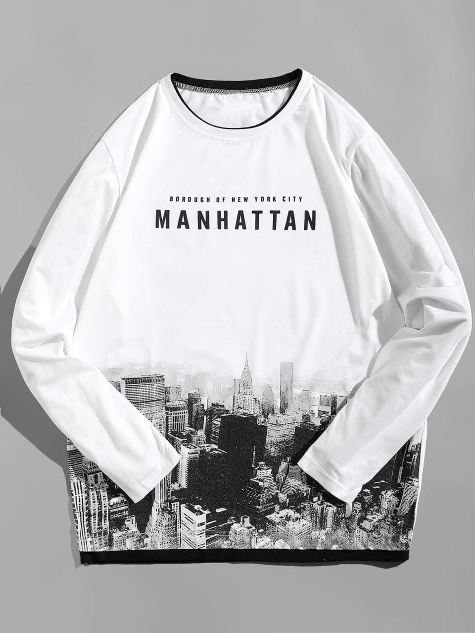 Men's Long Sleeve Manhattan Architecture Pattern T-shirt - White Xl