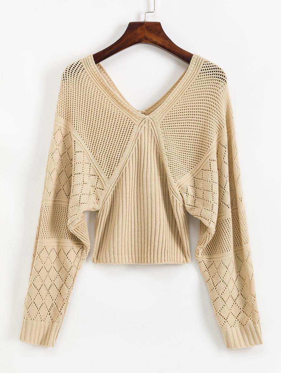 Women's V Back OpenworkLantern Sleeves Sweater - Apricot S