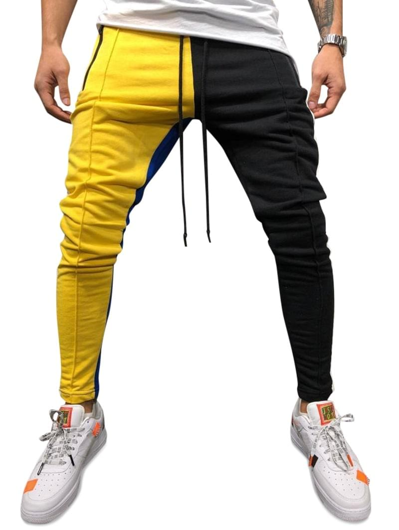 Men's Color Block Pockets Drawstring Slim Fit Track Pants - Yellow 2xl