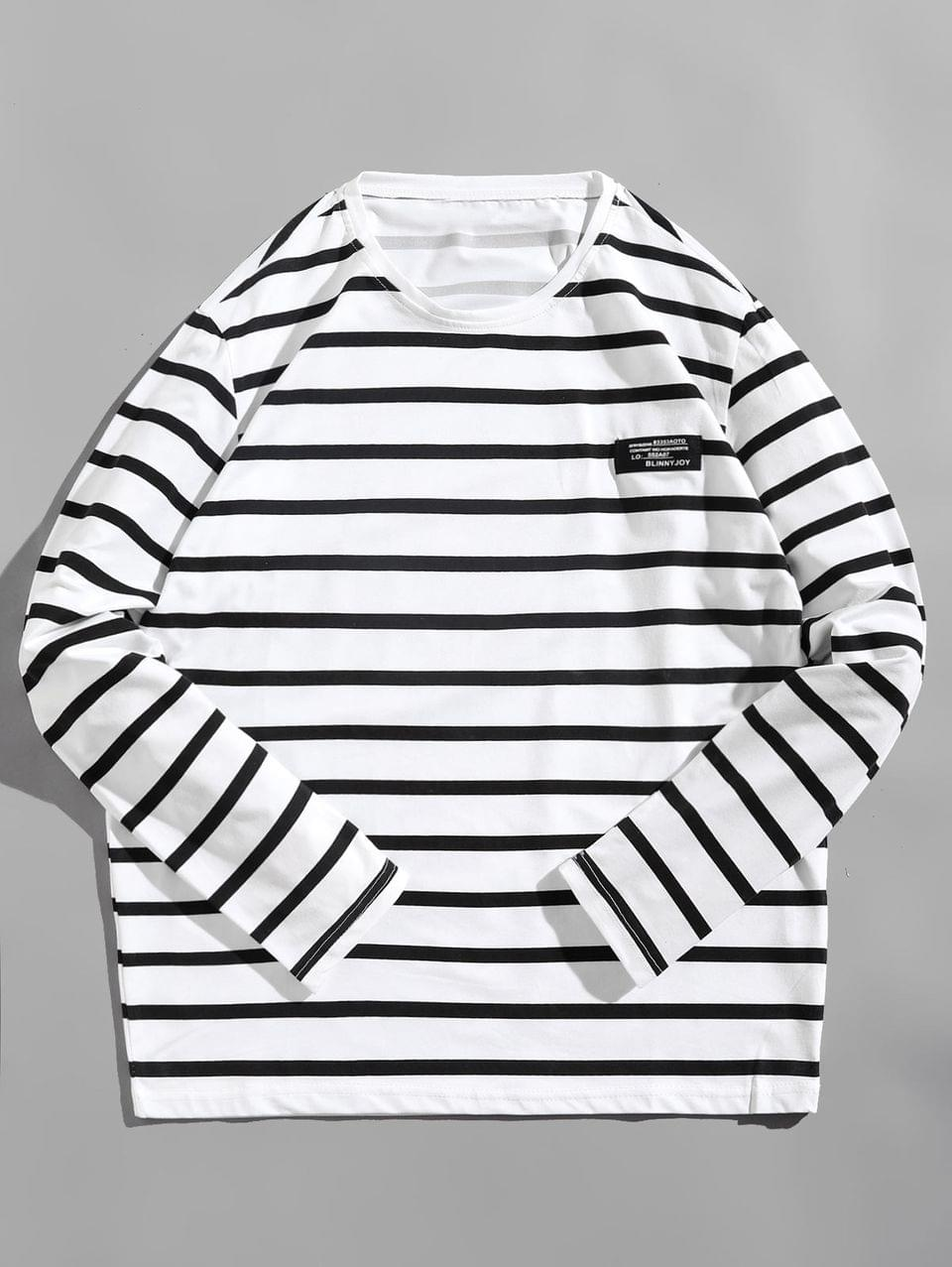 Men's Long Sleeve Striped Label Design T-shirt - White M