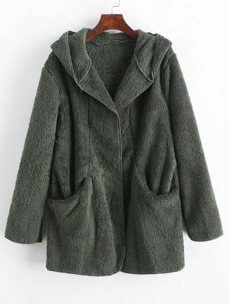 Women's Solid Color Pockets Hooded Teddy Coat - Green L