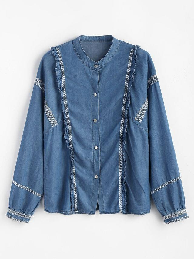 WOMEN Ruffle Button Down Embroidered Shirt - Denim Blue L