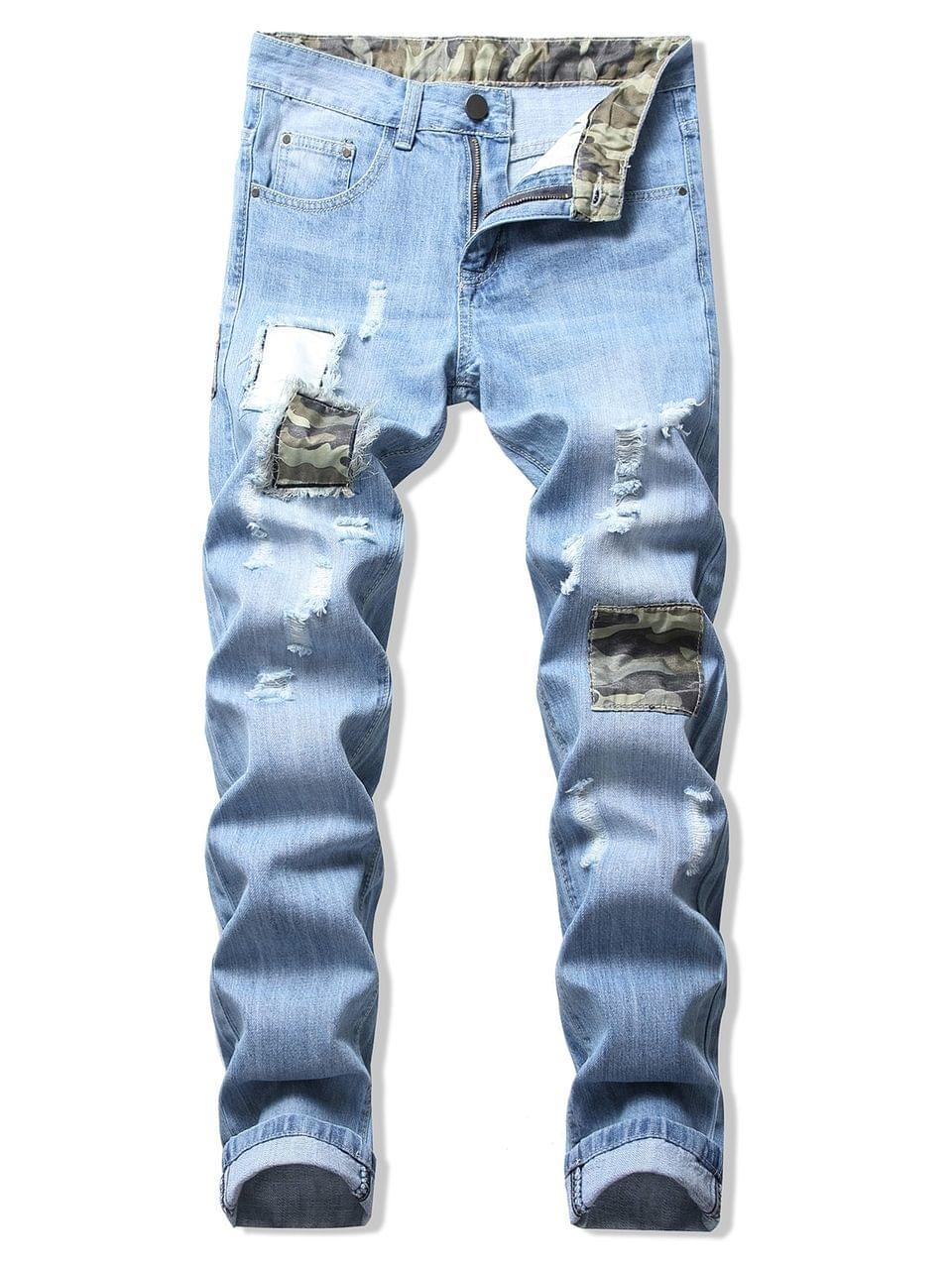 Men's Camouflage Patchwork Destroy Wash Long Jeans - Jeans Blue 36