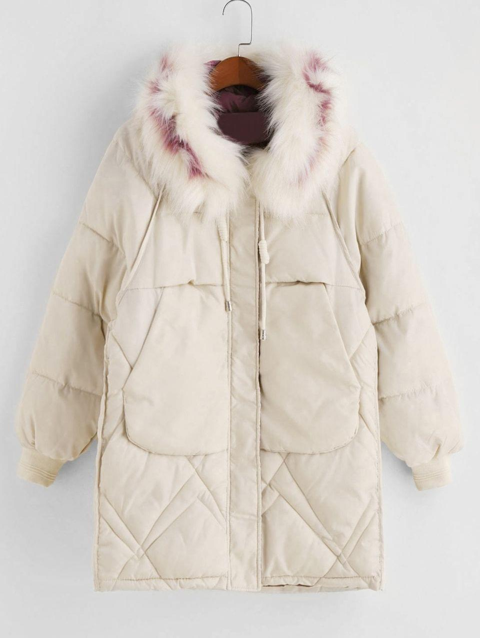 Women's Zip Up Fur Collar Pockets Parka Coat - White 3xl