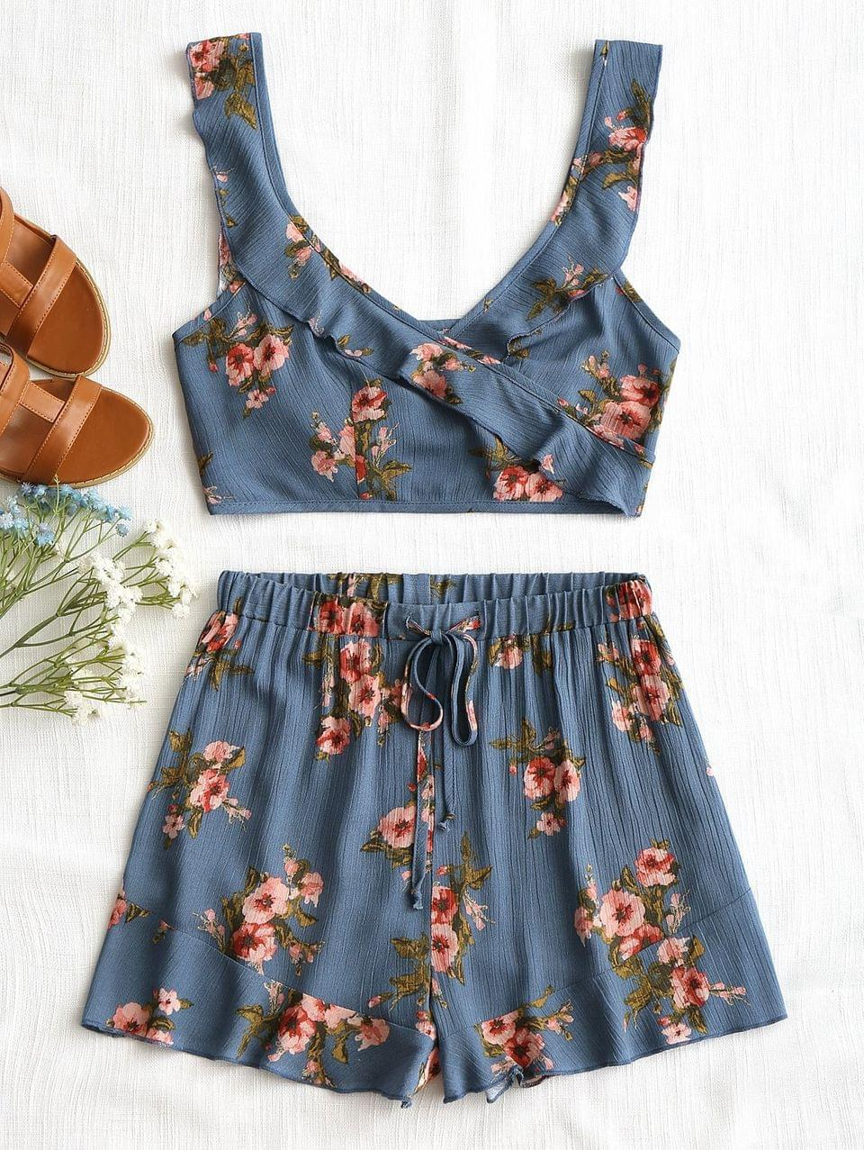 Women's Floral Ruffle Wrap Top And Drawstring Shorts - Blue M