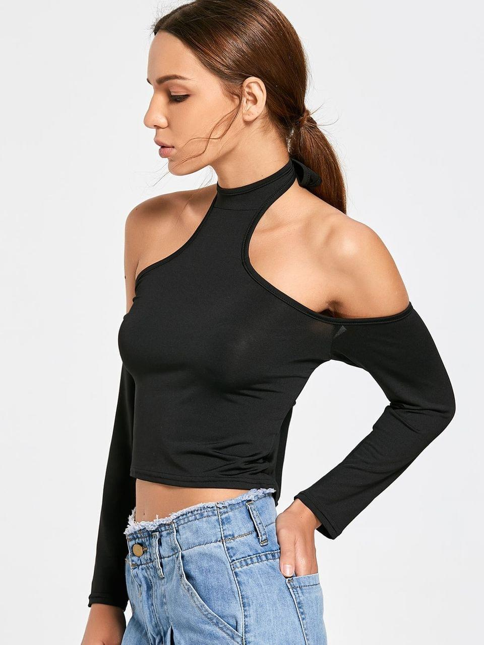 Women's Fitted Halter Cropped T-shirt - Black Xl