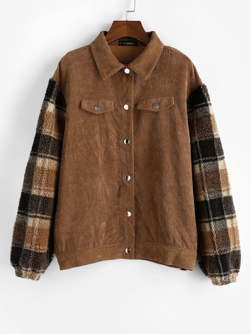 Women's Plaid Faux Shearling Sleeve Corduroy Jacket - Light Brown M