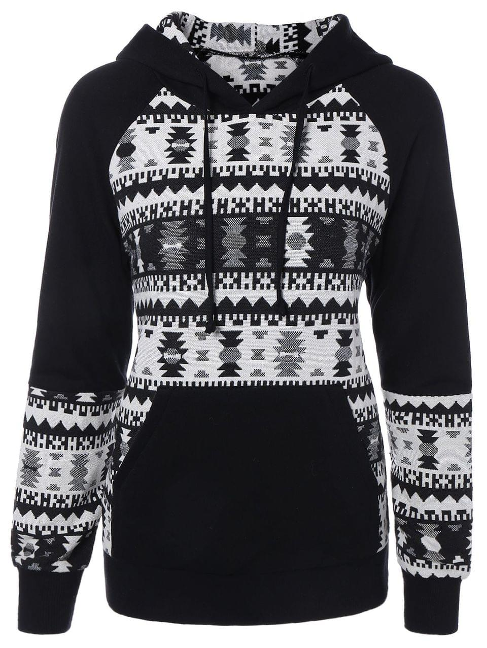Women's Front Pocket Jacquard Pullover Hoodie - White And Black L