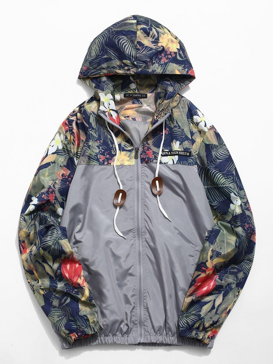 Men's Floral Printed Patchwork Hooded Jacket - Gray Cloud Xl