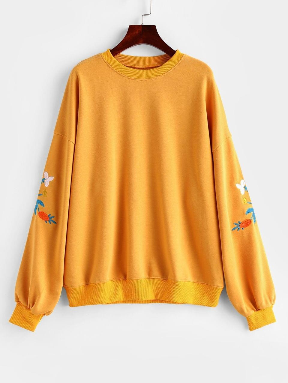 Women's Flower Embroidered French Terry Drop Shoulder Sweatshirt - Yellow